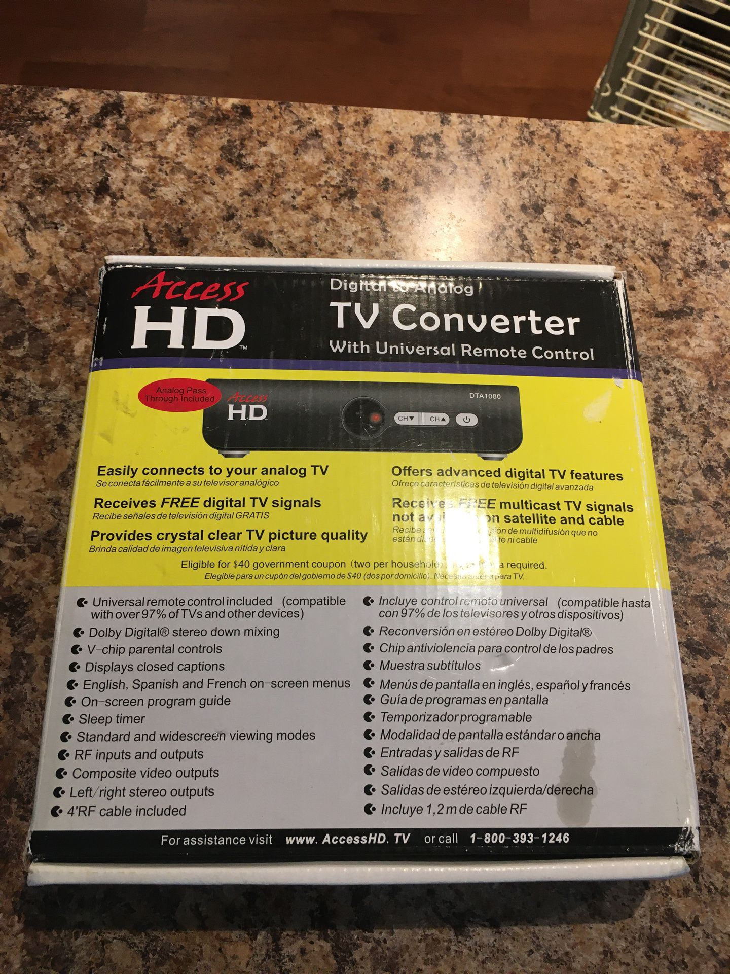 Access HD Digital to Análogo TV Converter Whit Universal Remote Control