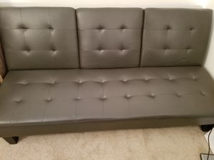 Gray Leather Futon Modern Sofabed for your living room, guest room or office. for Sale in Alexandria, VA