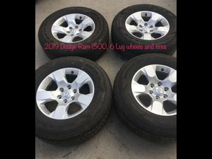 Photo 6 Lug Dodge Ram wheels and 18 Goodyear Wrangle Fortitude tires including spare. 5 total