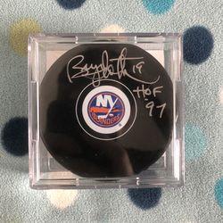 New York Islanders Bryan Trottier HOF Autographed Puck Beckett Authenticated Thumbnail
