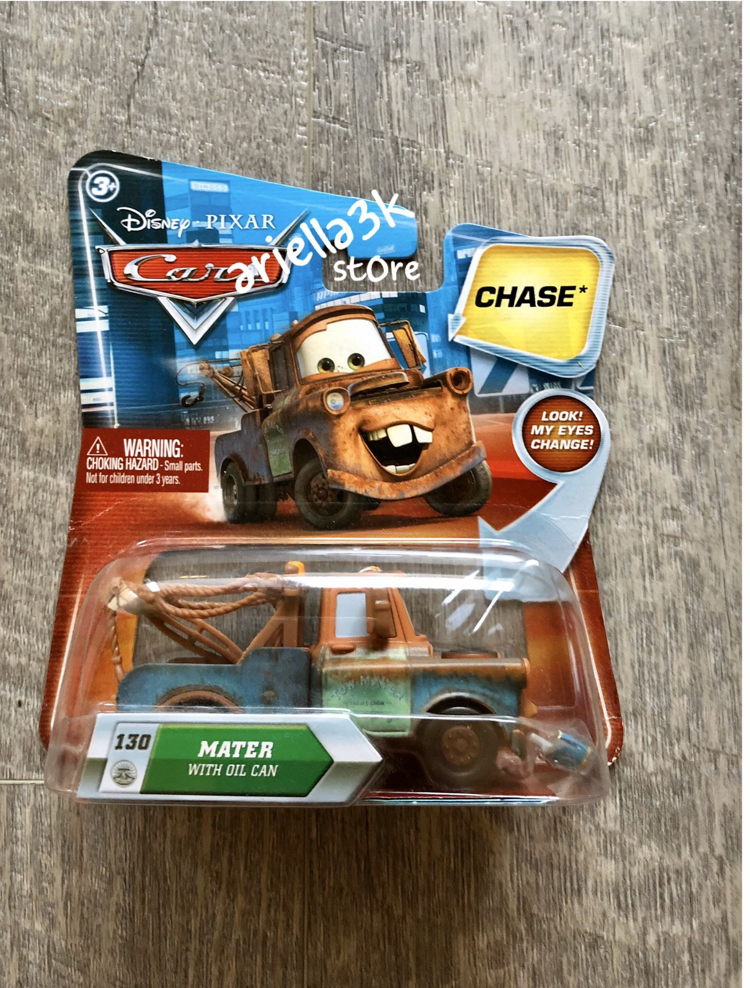 Disney Pixar Cars Mater with Oil Can #130 Chase Eyes. NEW