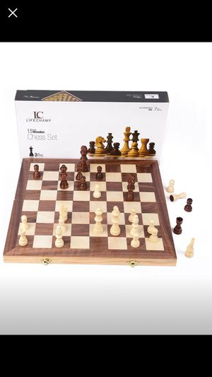 "Chess Sets for Adults and Kids with 15"" Inch Large Folding Wooden Game Board and Storage for the Han for Sale in Queens, NY"
