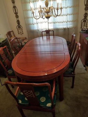 Oriental style dining table and buffet table/cabinet for Sale in Fort Washington, MD