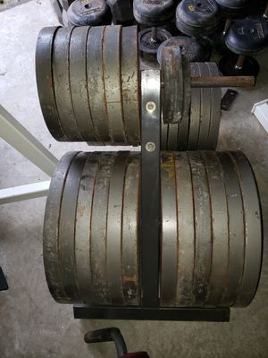 Ivanko rubber dumbbell set and iron weight plates for Sale in Lithonia, GA