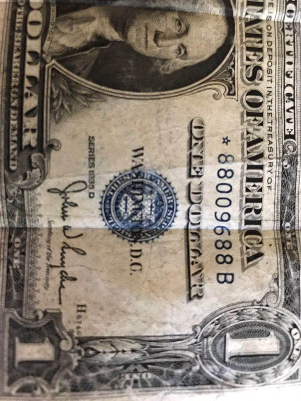 1935 D Series Silver Certificate Star Dollar Bill Collectible For