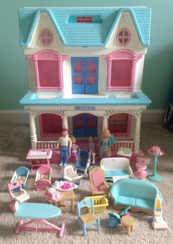 Vintage Fisher Price Loving Family Doll House 6364 Foldable W