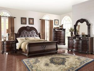 Photo Crown Mark, [SPECIAL] Stanley Cherry Brown Sleigh Bedroom Set B1600