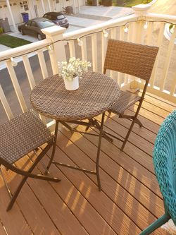 Wicker Bistro Set Thumbnail