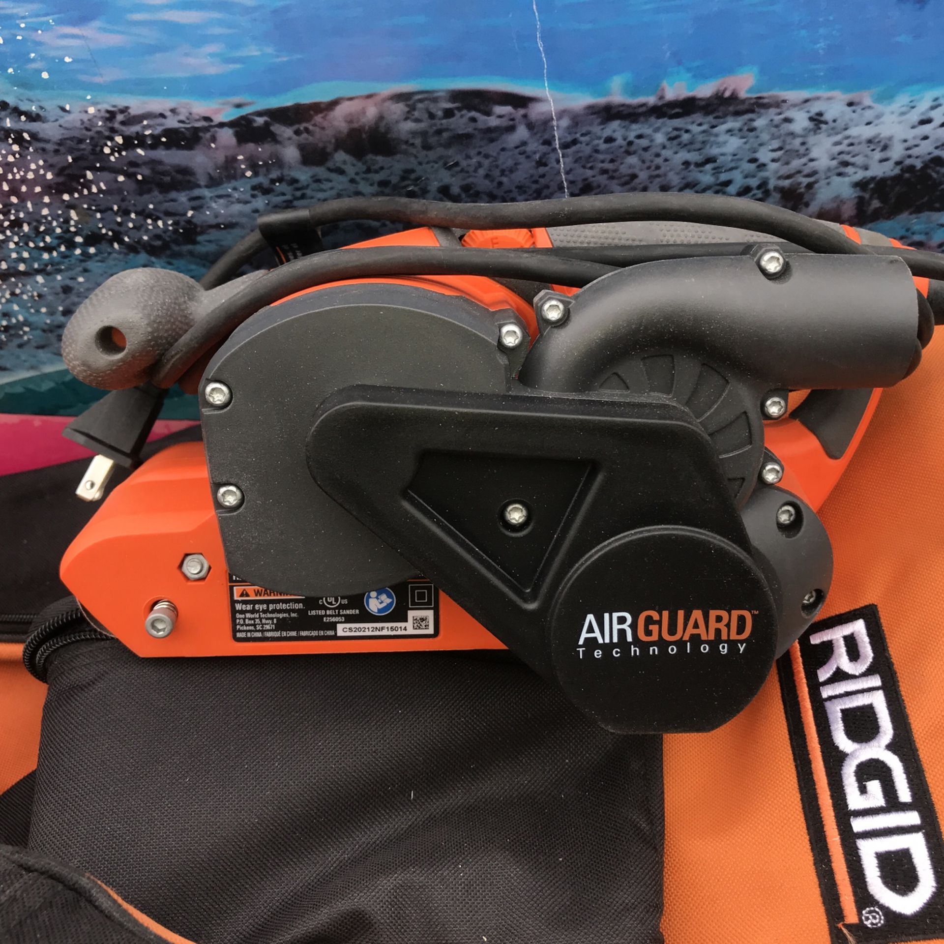 RIDGID 6.5 Amp Corded 3 in. x 18 in. Heavy-Duty Variable Speed Belt Sander with AIRGUARD Technology