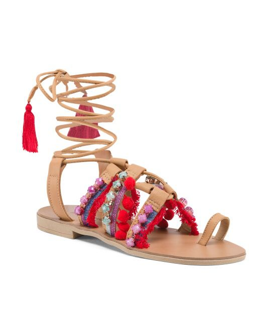 0c87b8e6348206 BARBARA BARBIERI Made In Italy Leather Lace Up Sandals retail   70.00.  Vernon