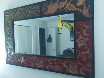 Large Mirror Wood Handcrafted. Thumbnail