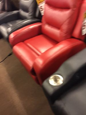 Photo Red leather power recliner