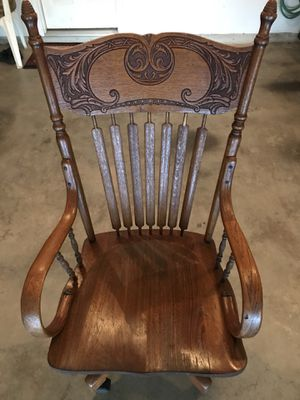 Antique Oak Press-Back Desk Chair for Sale in Woodbridge, VA