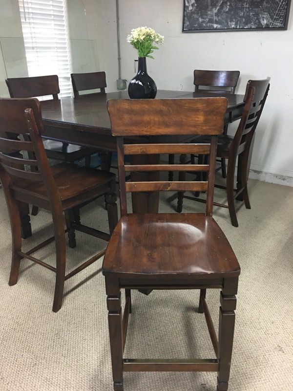 Pub table with 6 chairs