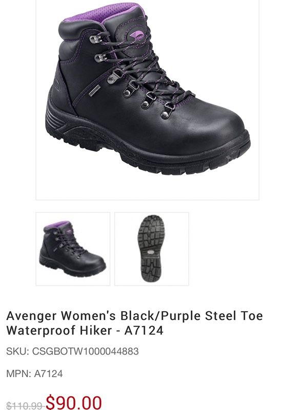 ef58a8542ce Avenger Woman s Black Purple Steel Toe hiker - Work boot size 7.5 ...