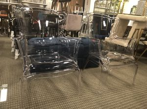 Set of 2 acrylic vision modern style accent chairs for Sale in Lincolnia, VA