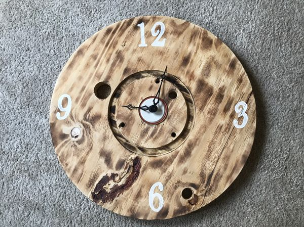 Reclaimed Wooden Spool Clock 24 45 For Sale In Chehalis Wa Offerup