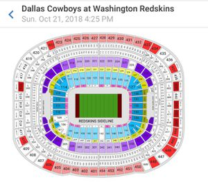 Redskins and Cowboys game ticket 10/21/18 @ 4:25 pm for Sale in Fairfax, VA
