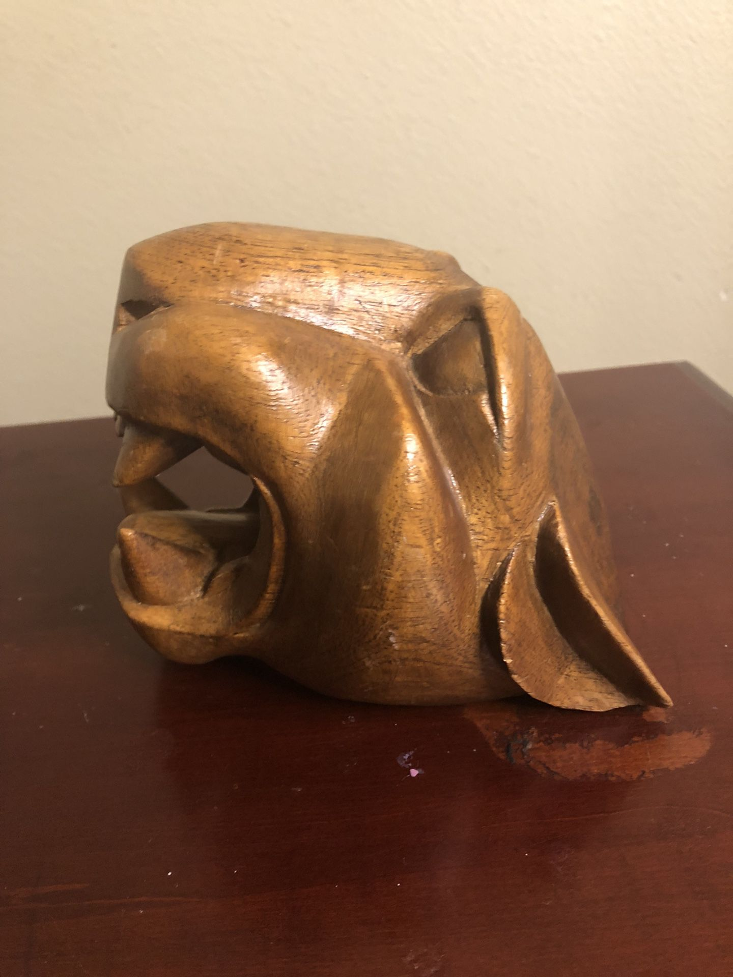 Wooden Carved Cougar Head
