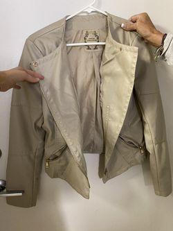 Beige Moto Jacket Large Thumbnail