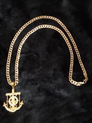 Curb Cuban link diamond cut GOLD PLATED Necklace With Virgin Mary Anchor Charm for Sale in Orlando, FL