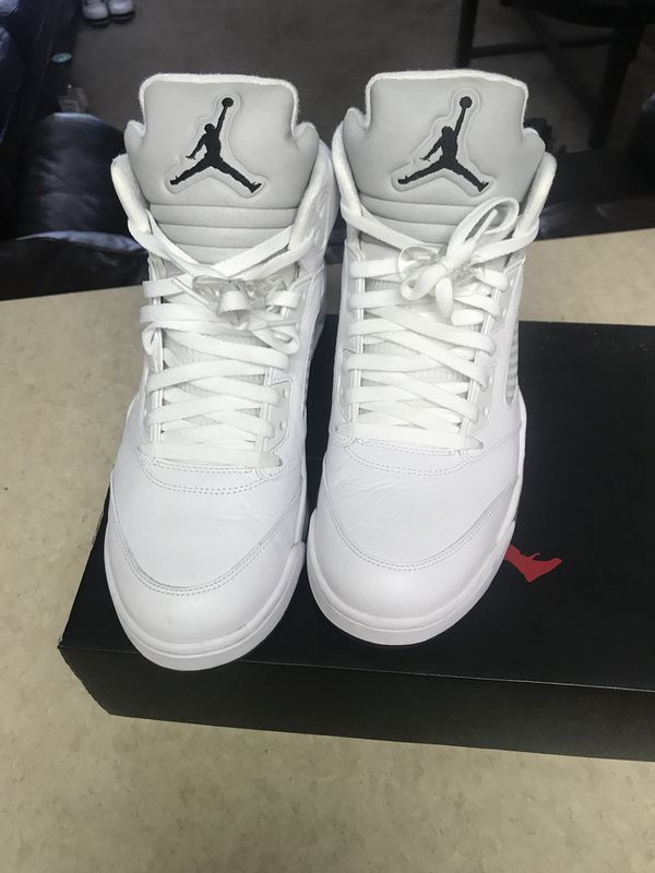 a77ef9de2144 Air Jordan retro 5 white metallic for Sale in Morrow