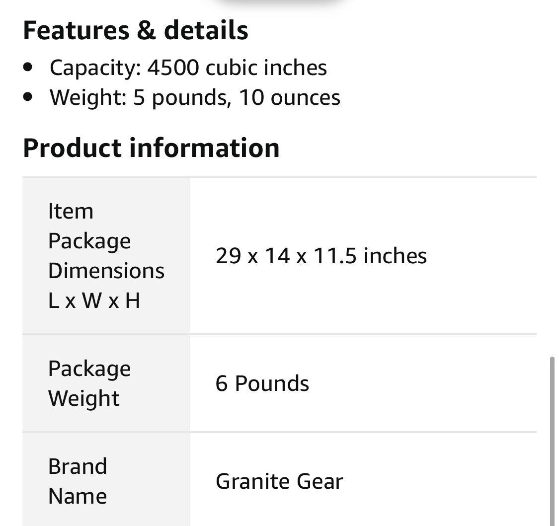 Granite Gear Stratus Access 4500 backpack - brand new