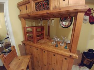Authentic Knotted Pinewood Bar with stools for Sale in Alexandria, VA