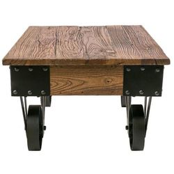Harper & Bright - Brown/Black Medium Rectangle Wood Coffee Table with Casters Thumbnail