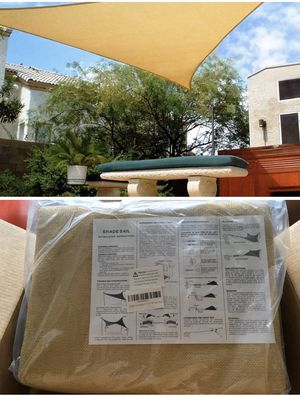 Photo Sun Shade Patio 16x16x16 Sand color triangular shade - new in package. Shipping available