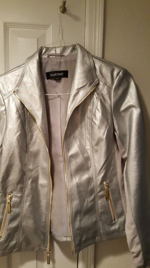 Stacey Allen silver leather jacket for Sale in Alexandria, VA