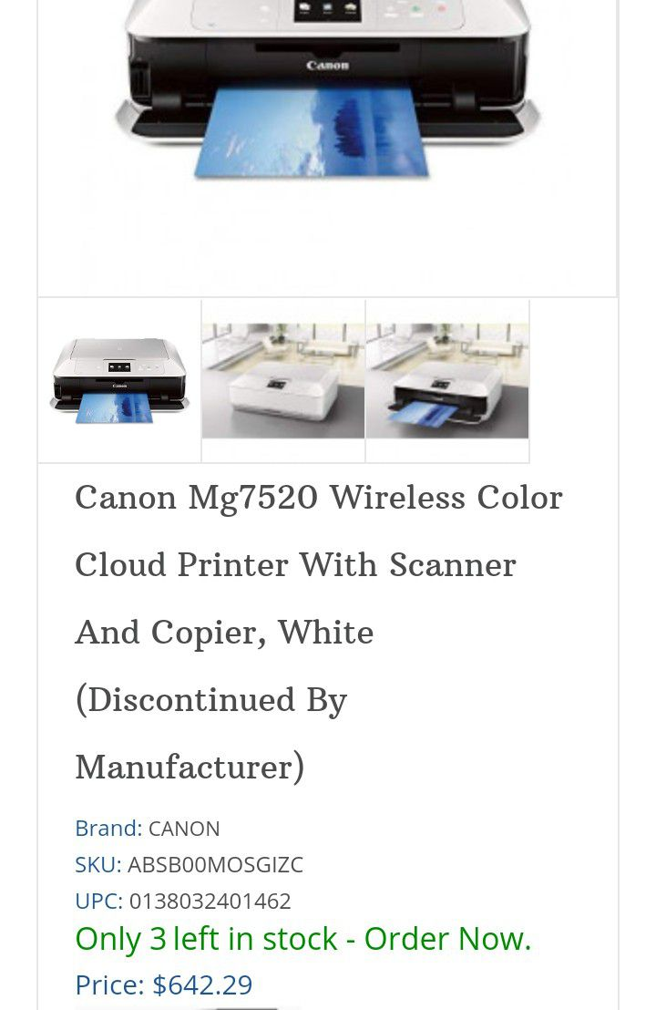 Canon Pixma MG7520 Wireless All In One Printer With Tons Of Ink