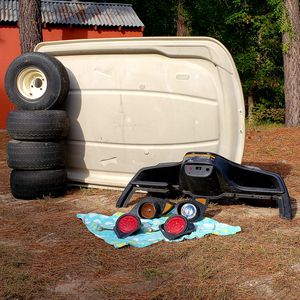 Golf Cart Parts, Yamaha Club Cart EZ GO. Tires, Canopy, Lights, and Dash Compartments! for Sale in Cary, NC