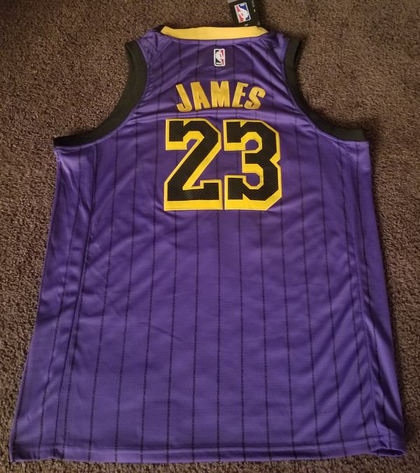 aaffa583394 Official Lebron James (Los Angeles Lakers) City Edition Purple Nike Jersey   Sizes  M