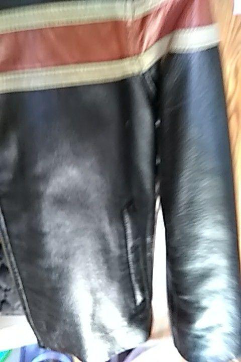 Boys large Wilson leather biker jacket