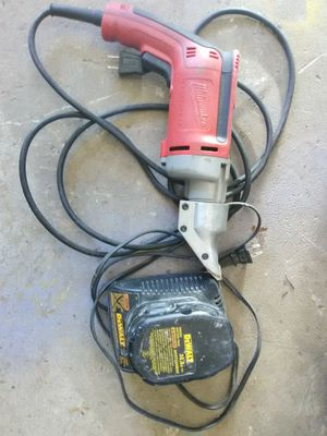 Milwaukee metal shear 14vlt dewalt charger and battery porter cable tool combo for Sale in Manassas, VA