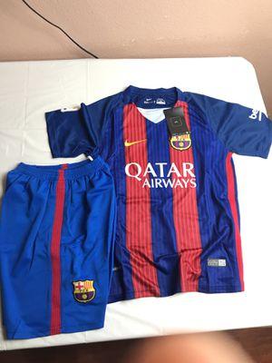Kids costume soccer uniform 7 8 years Barcelona jersey shorts for Sale in  Hesperia 2dd567813b2
