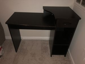Black desk with drawer + shelf space for Sale in Fairfax, VA