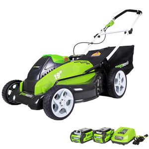 G-MAX 19 in. 40-Volt Lithium-Ion Cordless Battery Walk Behind Push Lawn Mower - Battery/Charger Included for Sale in Houston, TX