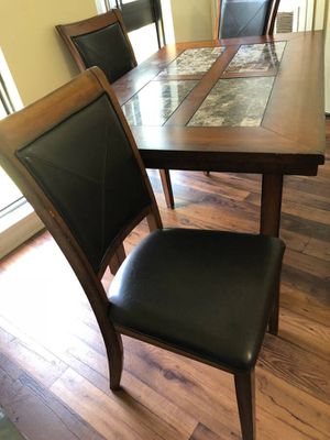 Real leather dining chairs with bench and dinning table for Sale in Gaithersburg, MD