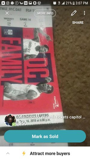 Washington Wizards tickets capitol one arena 1st row section 116 row z seat 2 Milwaukee Bucks and Denver Nuggetts for Sale in Washington, DC