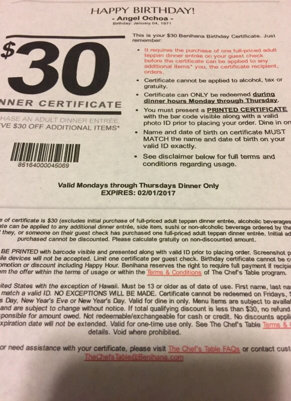 Benihana 30 Dollar Certificate For Sale In Downey Ca Offerup