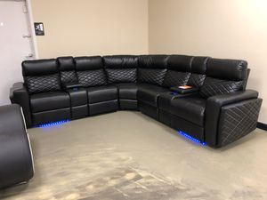 Jacksonville Fl Black Leather Reclining Sectional With Cup Cooling And Heating System Under Lighting For