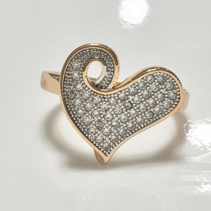 Gold filled paved cz heart love ring for Sale in Silver Spring, MD