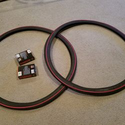 2 NEW DURO 26X1&3/8 (37-590) BICYCLE TIRES DOUBLE RED LINED WITH TUBES Thumbnail