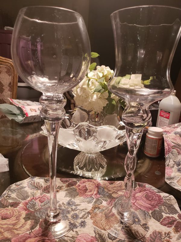 2 Tall Decorative Glass Wine Vases 15 Each For Sale In Fresno Ca