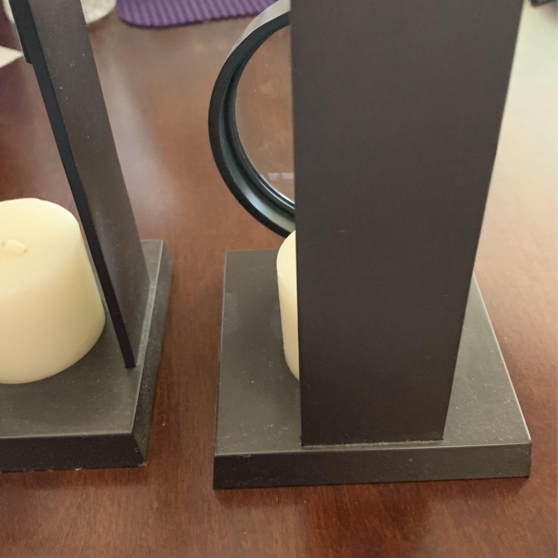 2 Decorative Candle Holders W Magnified Glass