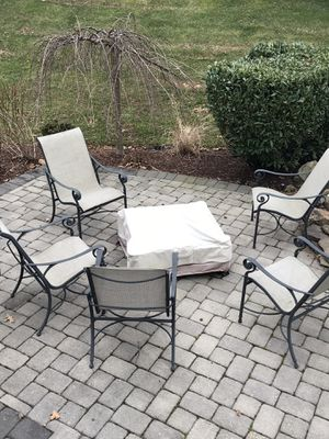 Patio set 8 chairs tables & fire pit for Sale in Ashburn, VA