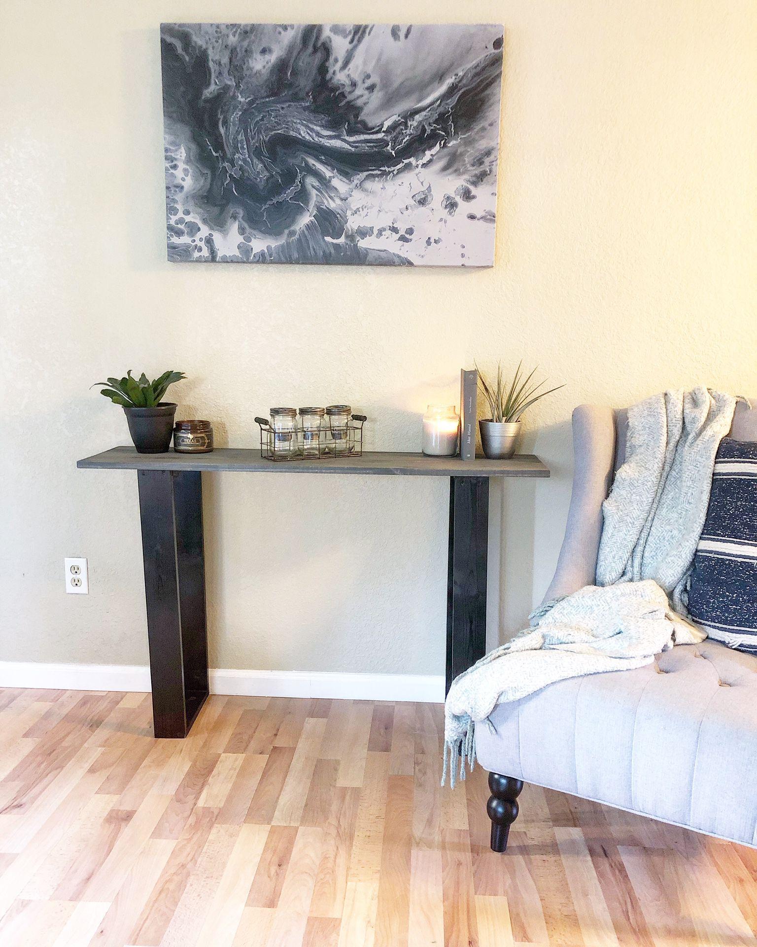 Rustic dark grey entry table