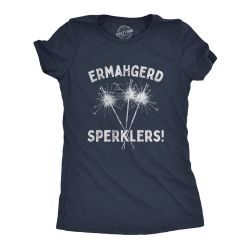 Womens Ermahgerd Sperklers Tshirt Funny 4th of July Fireworks Sparklers Graphic Novelty Tee (Heather Navy) - L Thumbnail